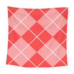 Plaid Triangle Line Wave Chevron Red White Beauty Argyle Square Tapestry (large) by Alisyart