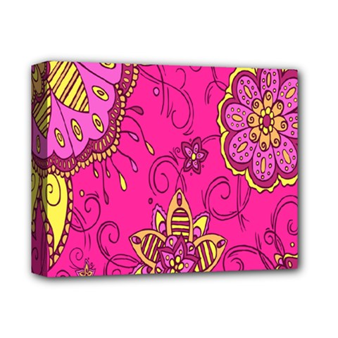 Pink Lemonade Flower Floral Rose Sunflower Leaf Star Pink Deluxe Canvas 14  X 11  by Alisyart