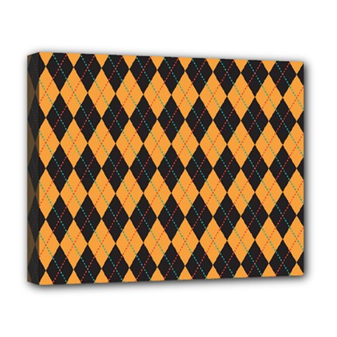 Plaid Triangle Line Wave Chevron Yellow Red Blue Orange Black Beauty Argyle Deluxe Canvas 20  X 16   by Alisyart