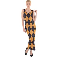 Plaid Triangle Line Wave Chevron Yellow Red Blue Orange Black Beauty Argyle Fitted Maxi Dress by Alisyart
