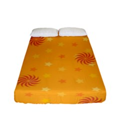Star White Fan Orange Gold Fitted Sheet (full/ Double Size) by Alisyart