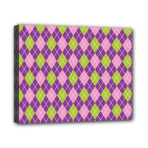 Plaid Triangle Line Wave Chevron Green Purple Grey Beauty Argyle Canvas 10  X 8  by Alisyart
