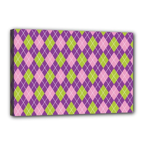Plaid Triangle Line Wave Chevron Green Purple Grey Beauty Argyle Canvas 18  X 12  by Alisyart