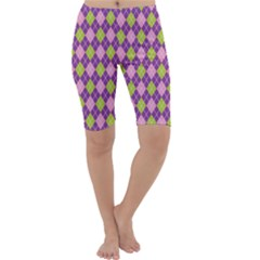 Plaid Triangle Line Wave Chevron Green Purple Grey Beauty Argyle Cropped Leggings  by Alisyart