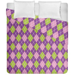 Plaid Triangle Line Wave Chevron Green Purple Grey Beauty Argyle Duvet Cover Double Side (california King Size) by Alisyart