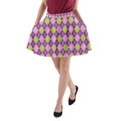 Plaid Triangle Line Wave Chevron Green Purple Grey Beauty Argyle A Line Pocket Skirt by Alisyart