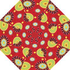 Sunflower Floral Red Yellow Black Circle Folding Umbrellas by Alisyart