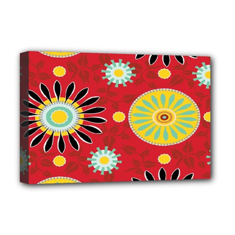 Sunflower Floral Red Yellow Black Circle Deluxe Canvas 18  X 12   by Alisyart