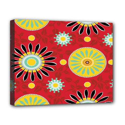 Sunflower Floral Red Yellow Black Circle Deluxe Canvas 20  X 16   by Alisyart