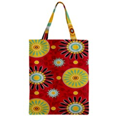 Sunflower Floral Red Yellow Black Circle Zipper Classic Tote Bag by Alisyart