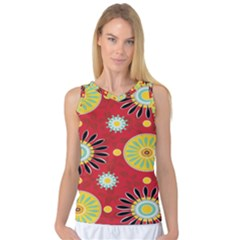 Sunflower Floral Red Yellow Black Circle Women s Basketball Tank Top