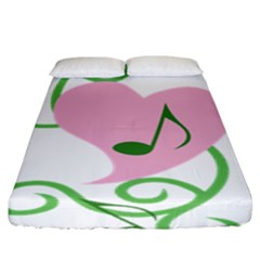 Sweetie Belle s Love Heart Music Note Leaf Green Pink Fitted Sheet (king Size) by Alisyart