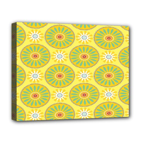 Sunflower Floral Yellow Blue Circle Deluxe Canvas 20  X 16   by Alisyart