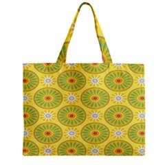 Sunflower Floral Yellow Blue Circle Zipper Mini Tote Bag by Alisyart
