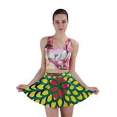Sunflower Flower Floral Pink Yellow Green Mini Skirt by Alisyart