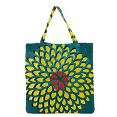 Sunflower Flower Floral Pink Yellow Green Grocery Tote Bag by Alisyart