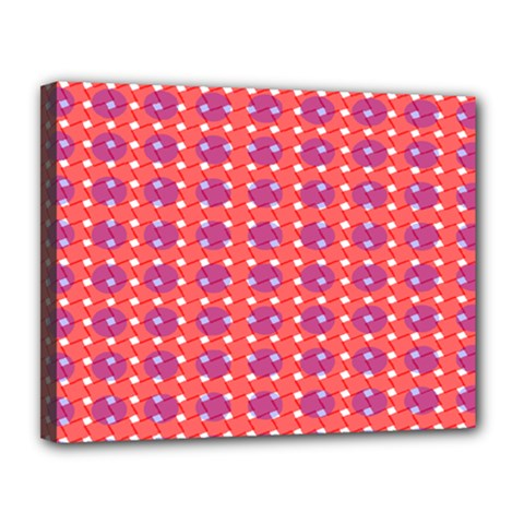 Roll Circle Plaid Triangle Red Pink White Wave Chevron Canvas 14  X 11  by Alisyart