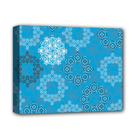 Flower Star Blue Sky Plaid White Froz Snow Deluxe Canvas 14  X 11  by Alisyart