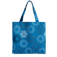 Flower Star Blue Sky Plaid White Froz Snow Grocery Tote Bag by Alisyart
