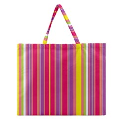 Stripes Colorful Background Zipper Large Tote Bag by Simbadda