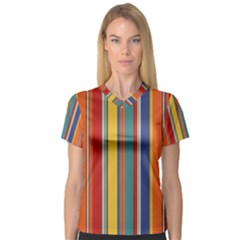 Stripes Background Colorful Women s V Neck Sport Mesh Tee