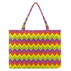 Colorful Zigzag Stripes Background Medium Zipper Tote Bag by Simbadda