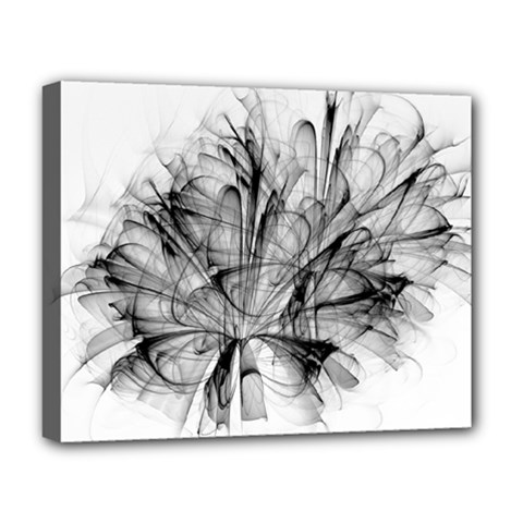 Fractal Black Flower Deluxe Canvas 20  X 16   by Simbadda