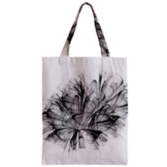 Fractal Black Flower Zipper Classic Tote Bag by Simbadda