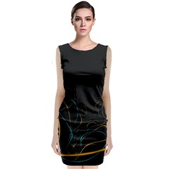 Fractal Lines Classic Sleeveless Midi Dress by Simbadda