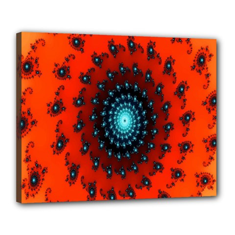 Red Fractal Spiral Canvas 20  X 16  by Simbadda