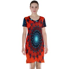 Red Fractal Spiral Short Sleeve Nightdress