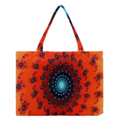 Red Fractal Spiral Medium Tote Bag by Simbadda