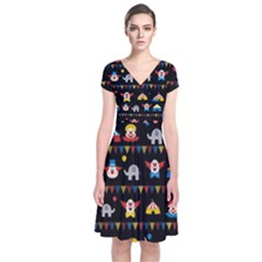 Circus Short Sleeve Front Wrap Dress by Valentinaart