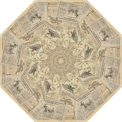 Vintage Newspaper  Folding Umbrellas by Valentinaart