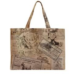 Vintage Newspaper  Zipper Mini Tote Bag by Valentinaart