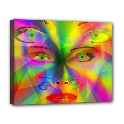 Rainbow Girl Deluxe Canvas 20  X 16   by Valentinaart