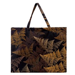 Fractal Fern Zipper Large Tote Bag by Simbadda