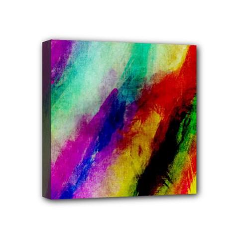 Abstract Colorful Paint Splats Mini Canvas 4  X 4  by Simbadda
