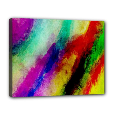 Abstract Colorful Paint Splats Canvas 14  X 11  by Simbadda