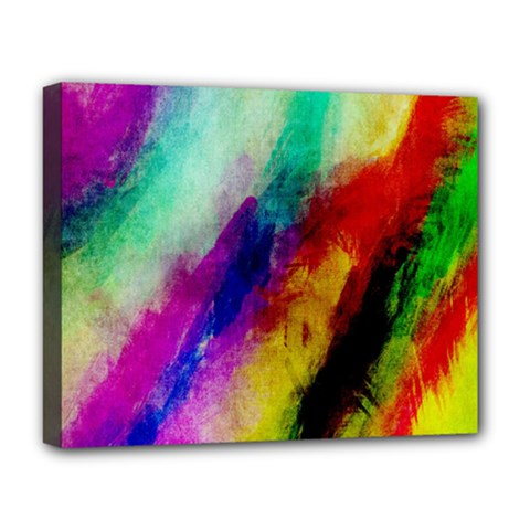 Abstract Colorful Paint Splats Deluxe Canvas 20  X 16   by Simbadda