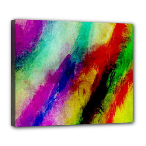 Abstract Colorful Paint Splats Deluxe Canvas 24  X 20   by Simbadda