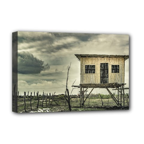 Traditional Cane House At Guayas District Ecuador Deluxe Canvas 18  X 12   by dflcprints