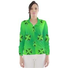 Shamrock Green Pattern Design Wind Breaker (women)