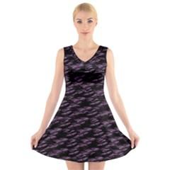 Purple Snakeskin V Neck Sleeveless Dress