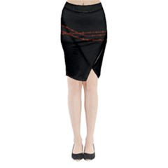 Barb Wire Black And Red Midi Wrap Pencil Skirt by ChihuahuaShower
