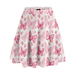 Cute Pink Flowers And Butterflies Pattern  High Waist Skirt by TastefulDesigns