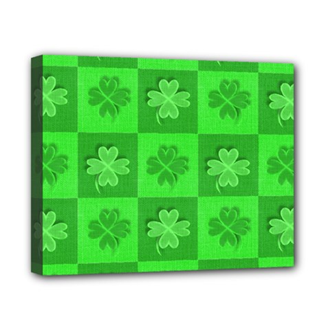 Fabric Shamrocks Clovers Canvas 10  X 8  by Simbadda