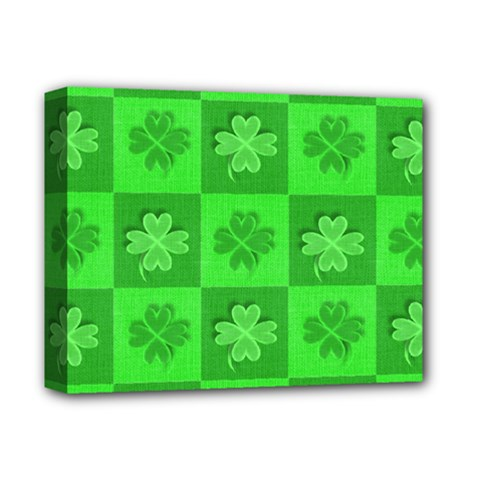 Fabric Shamrocks Clovers Deluxe Canvas 14  X 11  by Simbadda