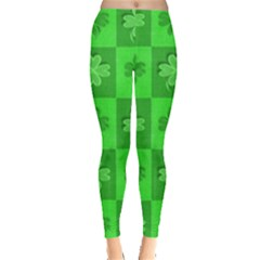 Fabric Shamrocks Clovers Leggings  by Simbadda