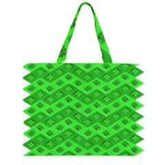 Shamrocks 3d Fabric 4 Leaf Clover Zipper Large Tote Bag by Simbadda